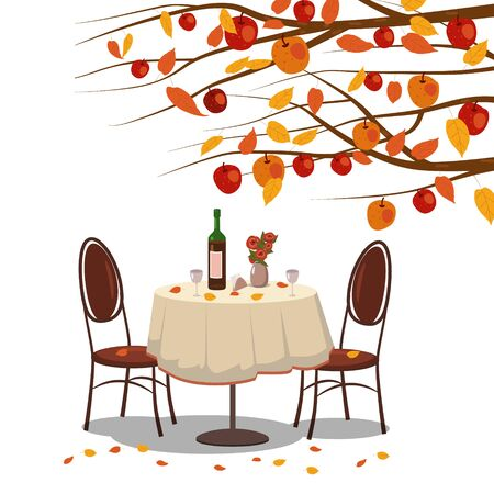 Autumn cafe table with wine for two persons autumn branches of falling leaves foliage, chairs flowers in park romantic mood. Isolated illustration vector