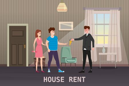 Young Happy Couple Accepting house rent. Real estate concept. Sale or rent new home service.