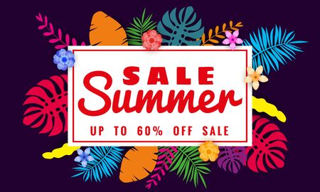Summer sale banner template for seasonal sales with tropical leaves flowers background, color exotic floral design banner