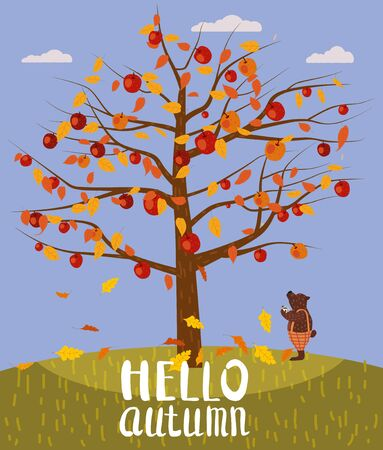 Hello Autumn lettering Apple Tree. Cute Bear covered fallen autumn leaves with cup coffee, autumn landscape fall.
