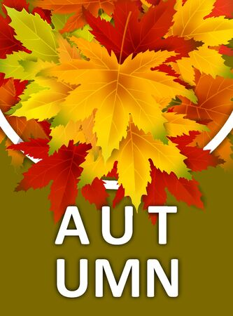 Autumn Background Template, with falling bunch of leaves, shopping sale or seasonal poster for shopping discount promotion, Postcard and Invitation card.