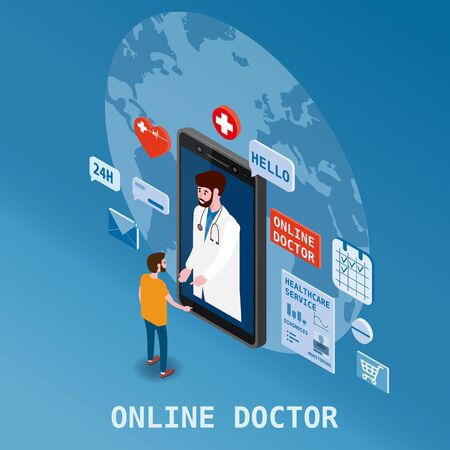 Doctor online isometrics healthcare and medical consultation using a smartphone technology. Patient men and doctor character icons medical health concept. Ilustração