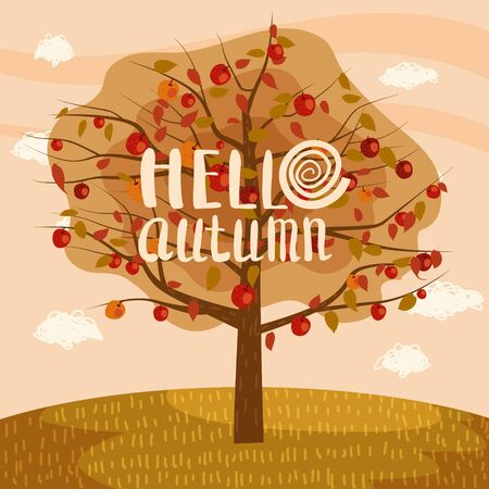 Hello Autumn apple tree landscape fruit harvest season lettering in trend style flat cartoon panorama horizon. Illustration vector isolated banner postcard poster