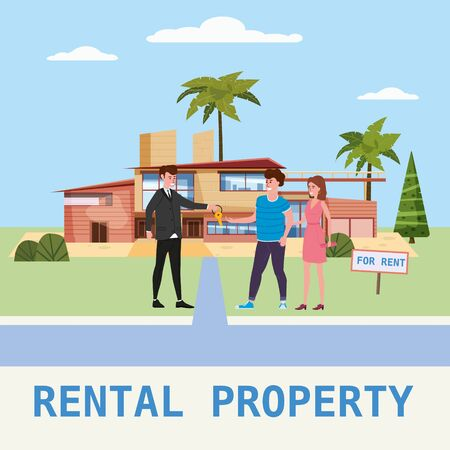 Real estate concept. House rent service. Modern family characters rent new luxury villa or big apartment sales manager hands over the keys. Realtor gives keys to family from new home.