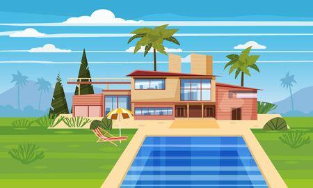 Villa moderne sur résidence en pays exotique, chère maison de maître dans paysage tropical palmiers.