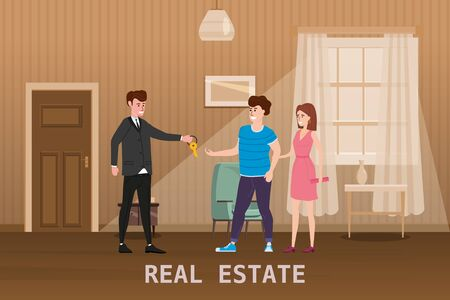 Young Happy Couple Accepting. Real estate concept. Sale or rent new home service. Modern family characters to buy new house or big apartment. 版權商用圖片 - 128771232