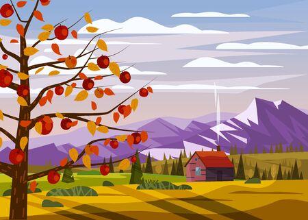 Autumn countryside rural landscape apple tree landscape fruit harvest season forest farm house fall panorama horizon romantic mood. Stock Illustratie