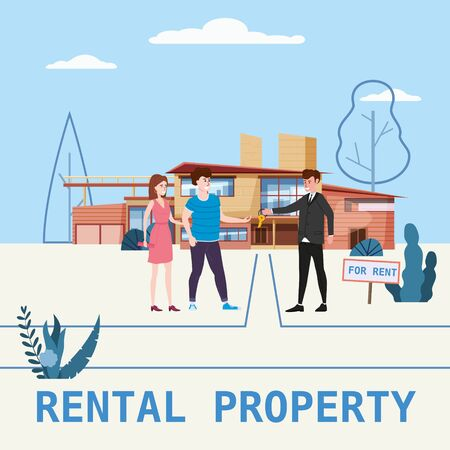 Real estate concept. House rent service. Modern family characters rent new luxury villa or big apartment sales manager hands over the keys. 版權商用圖片 - 128771442