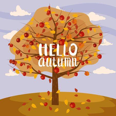 Hello Autumn apple tree landscape fruit harvest season lettering in trend style flat cartoon panorama horizon.