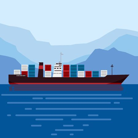 Cargo ship tanker with containers in the ocean. Delivery, transportation Vector Illustratie