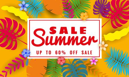 Summer sale paper cut style, banner template for seasonal sales with tropical leaves flowers background, color exotic floral design banner, flyer, invitation, poster. Vector illustration Ilustrace