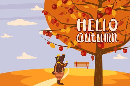 Hello Autumn apple tree Cute bear in pants with apple landscape fruit harvest season lettering in trend style flat cartoon panorama horizon.