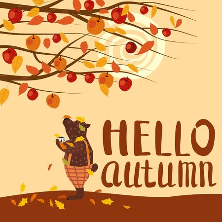 Cute autumn bear covered in fallen autumn leaves with a cup of coffee, Hello Autumn lettering, fall under apple tree. Stock Illustratie