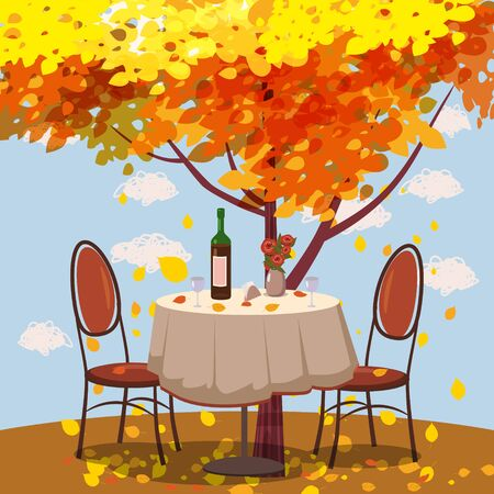 Autumn cafe table with wine for two persons autumn branches of falling leaves foliage, chairs flowers in park romantic mood. Isolated illustration vector Archivio Fotografico - 129229574
