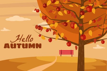 Hello Autumn apple tree landscape fruit harvest season in trend style flat cartoon panorama horizon. Illustration vector isolated banner postcard poster Archivio Fotografico - 129229577