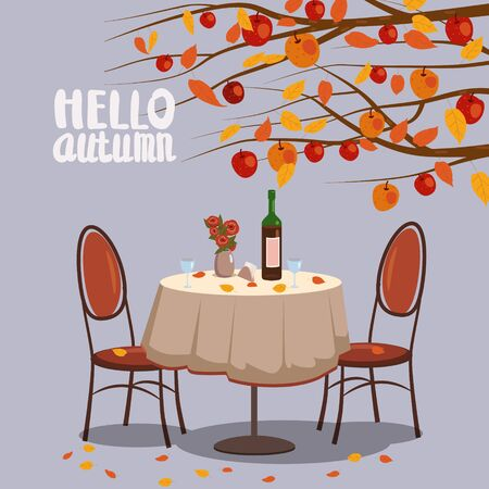 Hello Autumn cafe table with wine for two persons autumn branches of falling leaves foliage, chairs flowers in park romantic mood. Isolated illustration vector