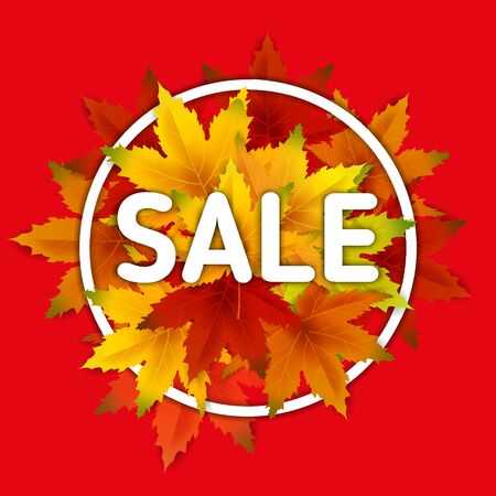 Autumn Sale Background Template, with falling bunch of leaves, shopping sale or seasonal poster for shopping discount promotion