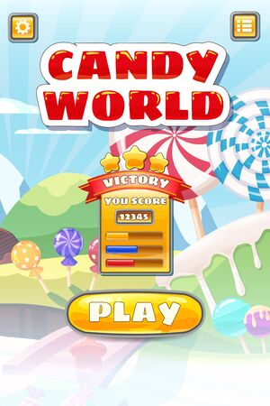 Game UI Candy World Match 3 set game buttons, and elements interface game design resource bar for games cartoon style.