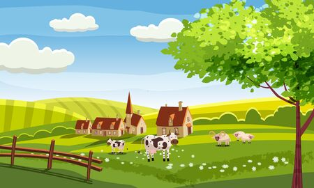 Rural farm landscape with green fields hills and farm village buildings animals cows sheeps Illustration