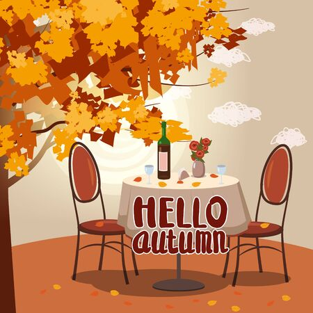 Hello Autumn cafe table with wine for two persons autumn branches of falling leaves foliage, chairs flowers in park romantic mood.