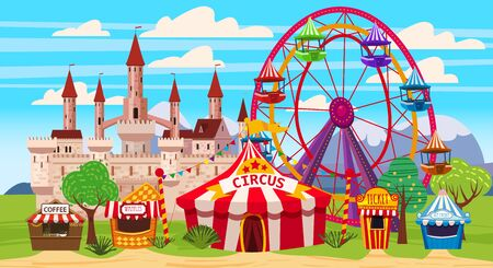 Amusement park, a landscape with a circus, carousels, carnival, attraction and entertainment. Standard-Bild - 129229596