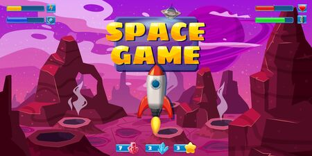 Fantasy space cartoon game concept background and Ui basic buttons and icons. Standard-Bild - 129229601