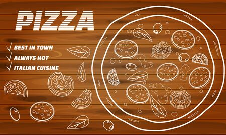 Pizza food menu for restaurant and cafe. Design in doodle style template flyer banner