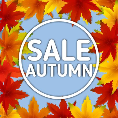 Sale Autumn Background Template, with falling bunch of leaves, shopping sale or seasonal poster for shopping discount promotion, Postcard and Invitation card. Vector illustration Voucher, Banner, Flyer, Promotional Poster