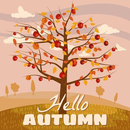 Hello Autumn apple tree landscape fruit harvest season in trend style flat cartoon panorama horizon. Illustration vector isolated banner postcard poster Ilustracja