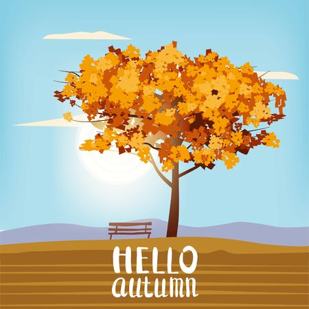 Hello Autumn landscape tree lettering rural scenery outdoor yellow red brown leaves foliage fall sunset mood panorama river lake reflection bench. Vector isolated poster baner