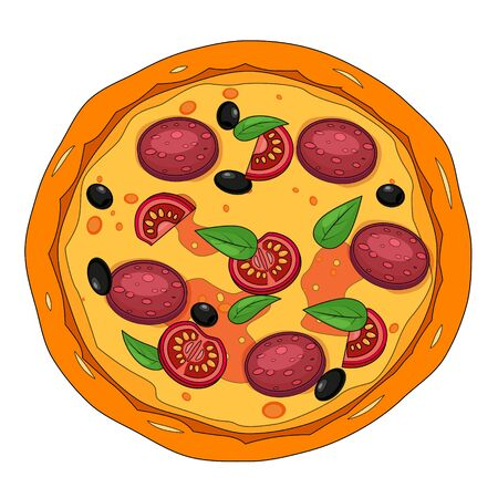 Fresh pizza with different ingredients tomato, cheese, olive, sausage, basil. Traditional italian fast food. Top view meal. European traditional snack. Isolated white background vector illustration. Ilustração