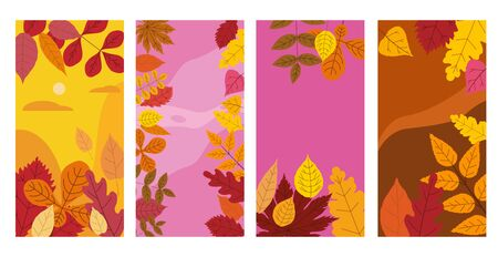 Set colorful autumn templates of autumn fallen leaves orange yellow foliage. Backgrounds social media stories banners. Template for event invitation, product catalog, advertising. Vector isolated trendy flat style