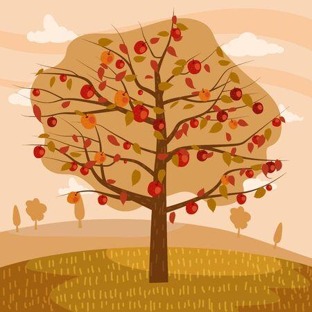 Autumn apple tree landscape fruit harvest season in trend style flat cartoon panorama horizon. Illustration vector isolated banner postcard poster
