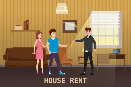 Young Happy Couple Accepting house rent. Real estate concept. Sale or rent new home service. Modern family characters to buy new house or big appartment. Interior new housing. Realtor gives keys to family from new home. Broker services. Vector flat Illustration Çizim