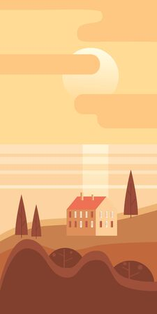 Autumn landscape rural suburban traditional building, hills and trees mountains sea ocean sun in trendy minimal geometric flat style. Vector, isolated vertical. Social media stories baner poster template