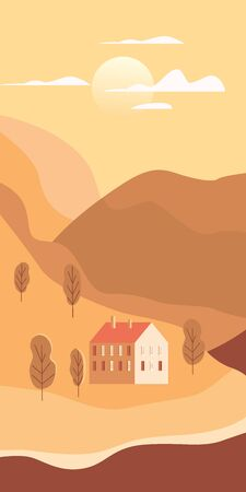 Landscape rural suburban traditional building, hills and trees mountains sea ocean sun in trendy minimal geometric flat style. Vector, isolated vertical. Social media stories baner poster template Ilustracja