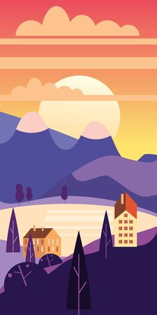 Landscape sunset rural suburban traditional buildings, hills and trees mountains lake sun in trendy minimal geometric flat style. Vector, isolated vertical. Social media stories baner poster template