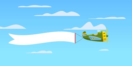 Red retro airplane aircraft with advertising banner ribbon in the cloudy sky. Vector isolated illustration