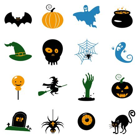 Set Halloween icons and illustrations colorful pumpkins bat, owl, ghost, pot, moons, hat, gravestones, scary tree, cat, eye, spider. Vector Isolated on white background Ilustração