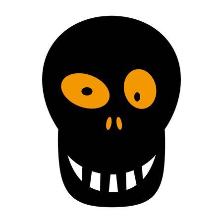 Skull flat single icon. Halloween skeleton head symbol of fear and danger. Black spooky decorative element. Vector illustration isolated on white background Ilustração