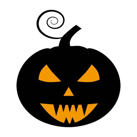 Pumpkin flat single icon. Halloween pumpkin symbol of fear and danger. Black spooky decorative element. Vector illustration isolated on white background Illustration