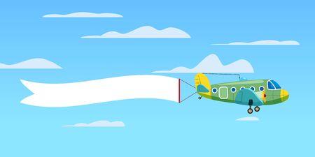 Czerwony retro dwupłatowy samolot ciągnący baner reklamowy