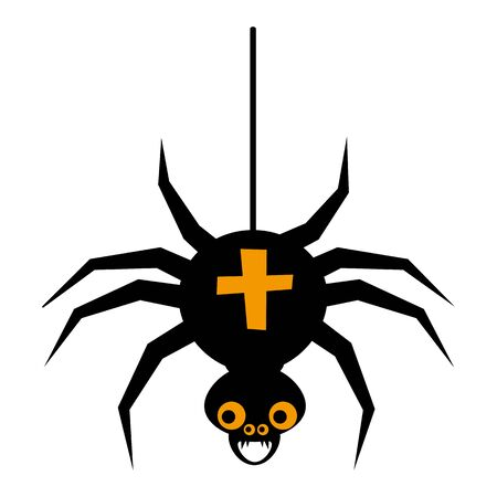 Halloween spider flat single icon. Halloween symbol of fear and danger. Black spooky decorative element. Vector illustration isolated on white background Ilustrace