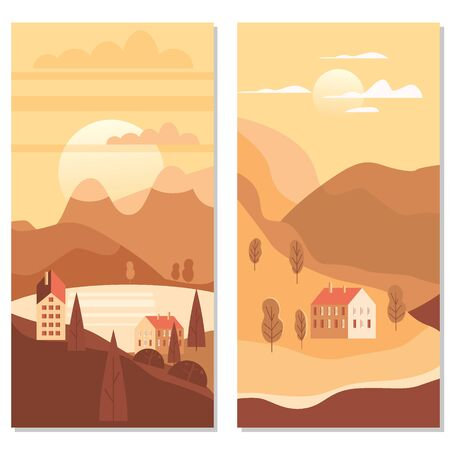 Autumn landscape rural suburban traditional buildings, hills and trees mountains sea sun