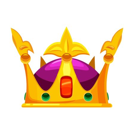 Golden crown royal jewelry symbol of king queen and princess with precious stones diamonds. Vector isolated cartoon style