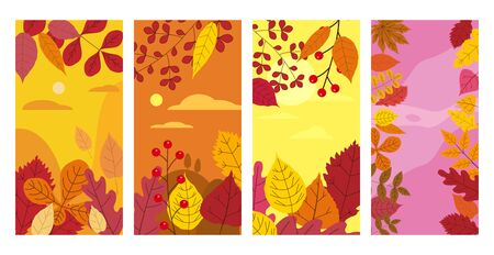 Set colorful autumn templates of autumn fallen leaves orange yellow foliage. Backgrounds social media stories banners.