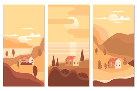 Autumn landscape sea ocean buildings, hills and trees mountains lake sun in trendy minimal geometric flat style. Vector, isolated vertical. Social media stories banner poster template