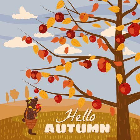 Hello Autumn apple tree Cute bear in pants with apple landscape fruit harvest season in trend style flat cartoon panorama horizon. Illustration vector isolated banner postcard poster Ilustracja