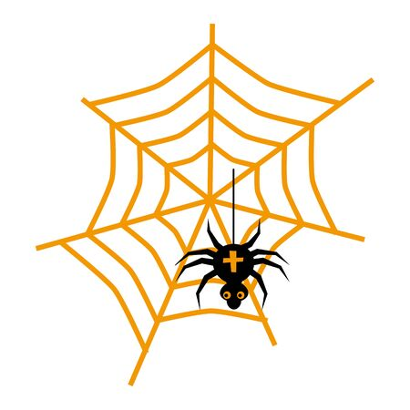 Halloween spider and web flat single icon. Halloween symbol of fear and danger. Black spooky decorative element. Vector illustration isolated on white background