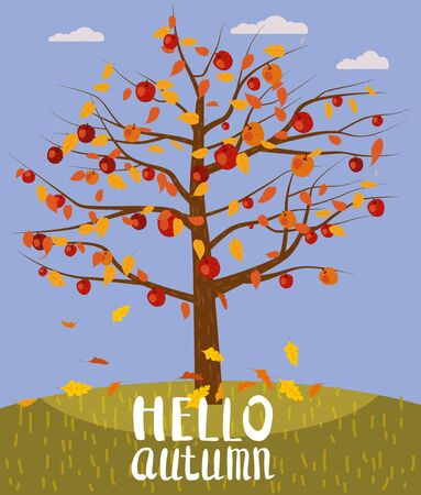 Hello Autumn lettering Apple Tree fallen autumn leaves autumn landscape fall. Vector illustration isolated poster banner template